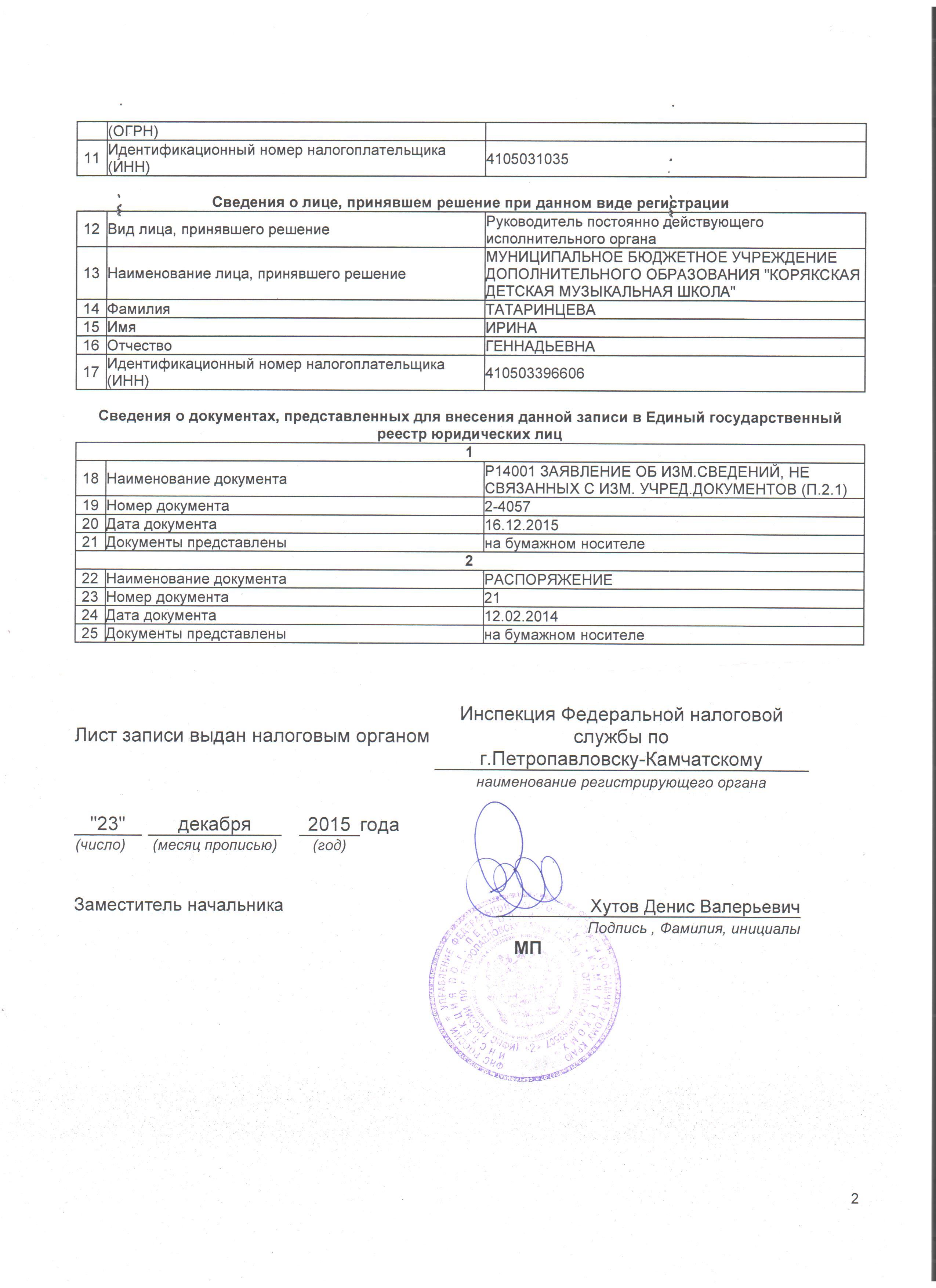 Лист записи ЕГРЮЛ от 23.12.2015г. страница 2